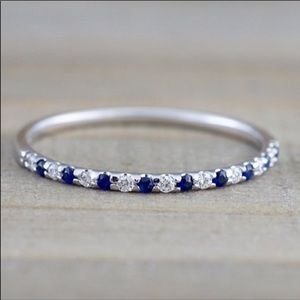 CZ & Sapphire Sterling Silver Band Ring